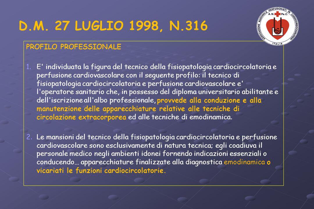 D.M. 27 LUGLIO 1998, N.316 PROFILO PROFESSIONALE