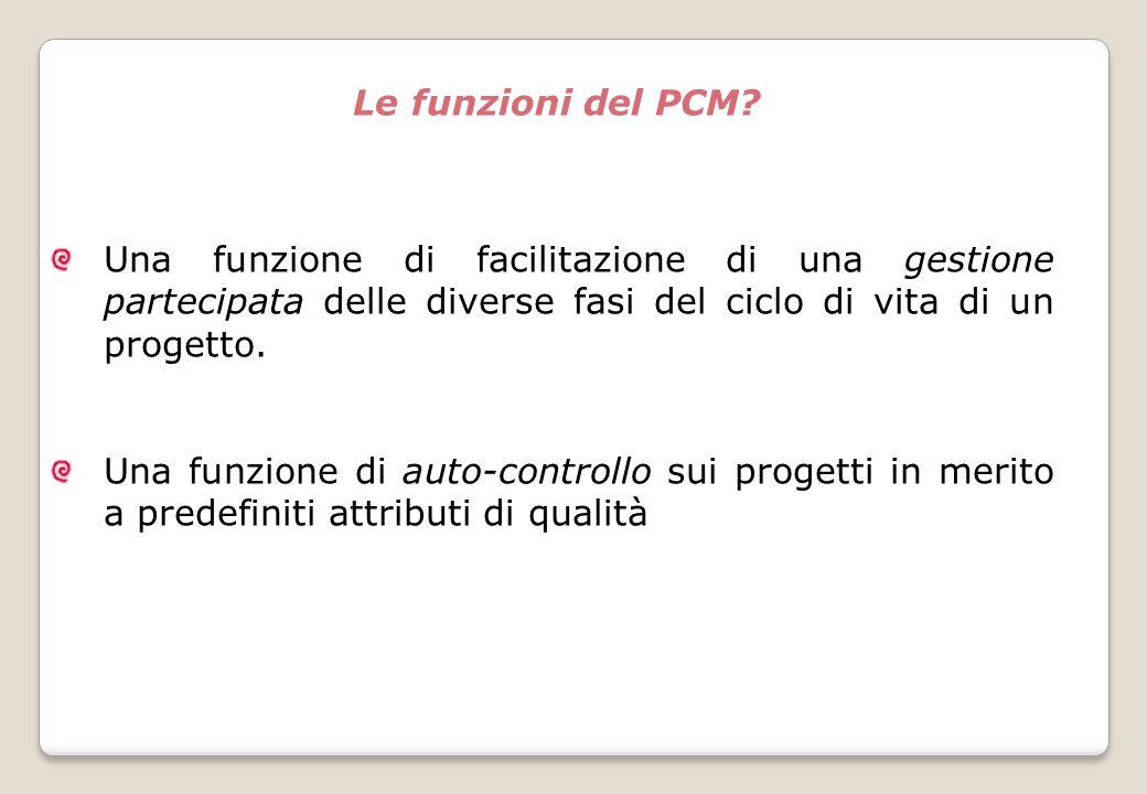 Le funzioni del PCM Una funzione di facilitazione di una gestione partecipata delle diverse fasi del ciclo di vita di un progetto.