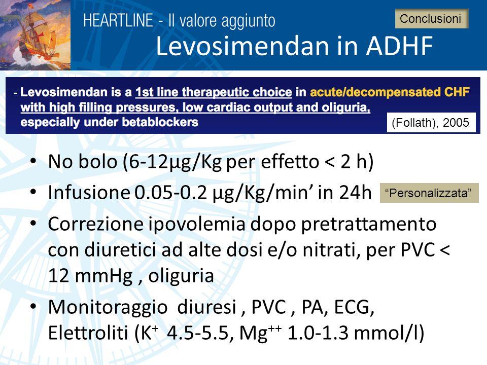 Levosimendan in ADHF No bolo (6-12μg/Kg per effetto < 2 h)