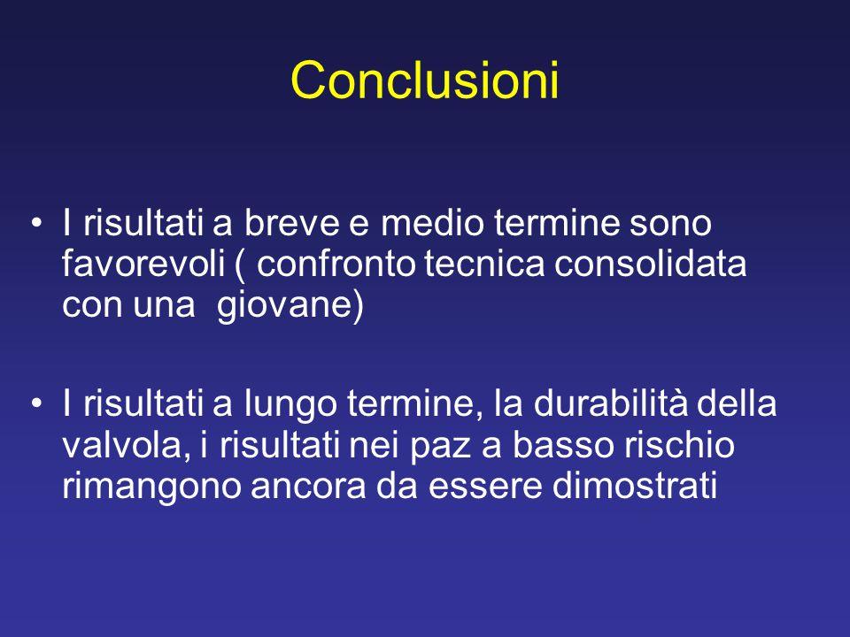 Conclusioni I risultati a breve e medio termine sono favorevoli ( confronto tecnica consolidata con una giovane)