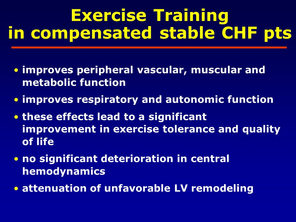 in compensated stable CHF pts