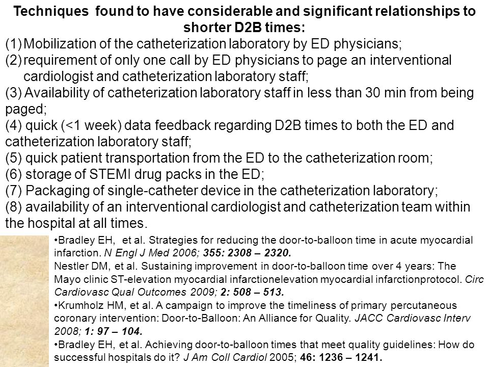 Mobilization of the catheterization laboratory by ED physicians;