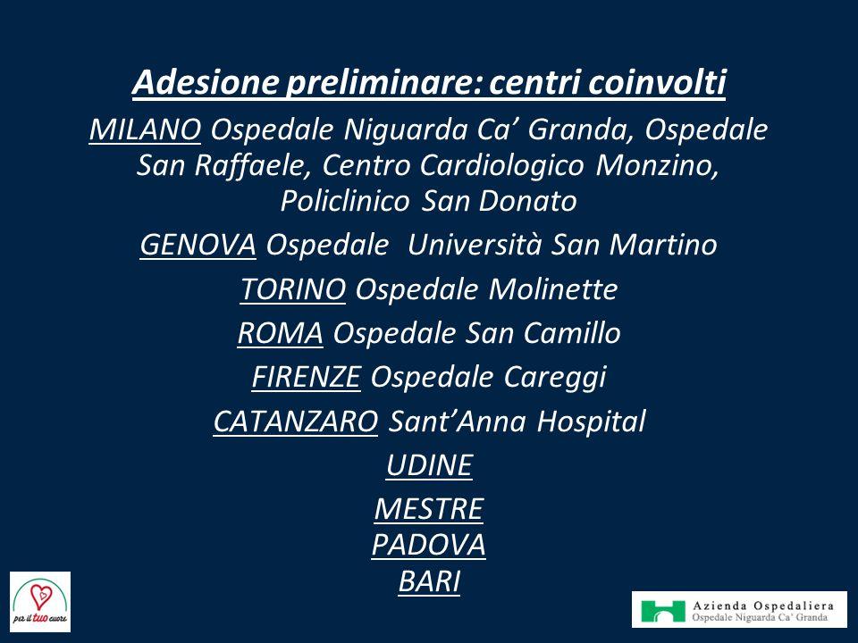 Adesione preliminare: centri coinvolti