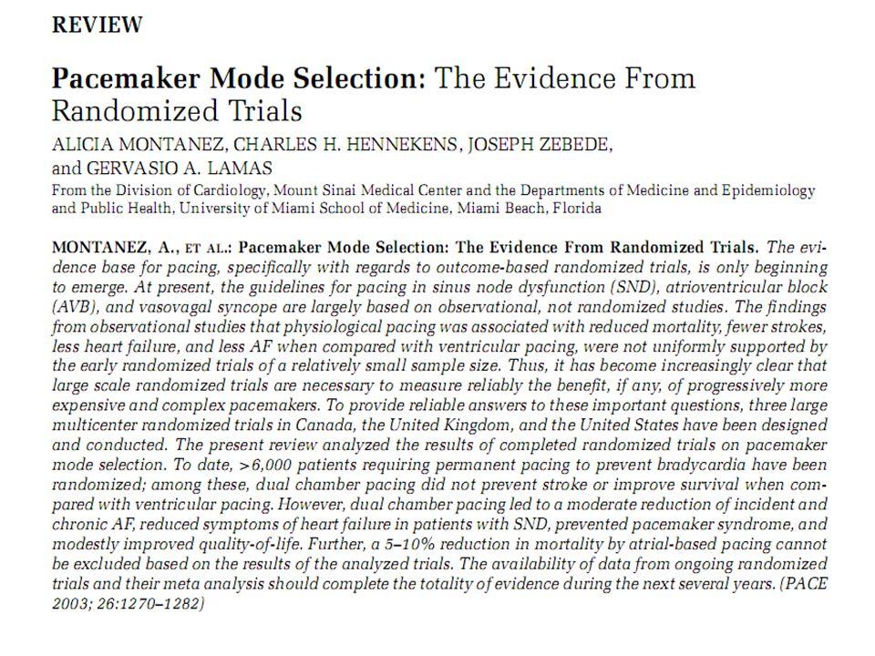 Infatti in questa Review pubblicata nel 2003 su PACE si sottolineava che, nell'insiene dei dati riguardanti oltre 6 mila pazienti DDD riduce FA, sindrome da pacemaker, forse lo stroke.