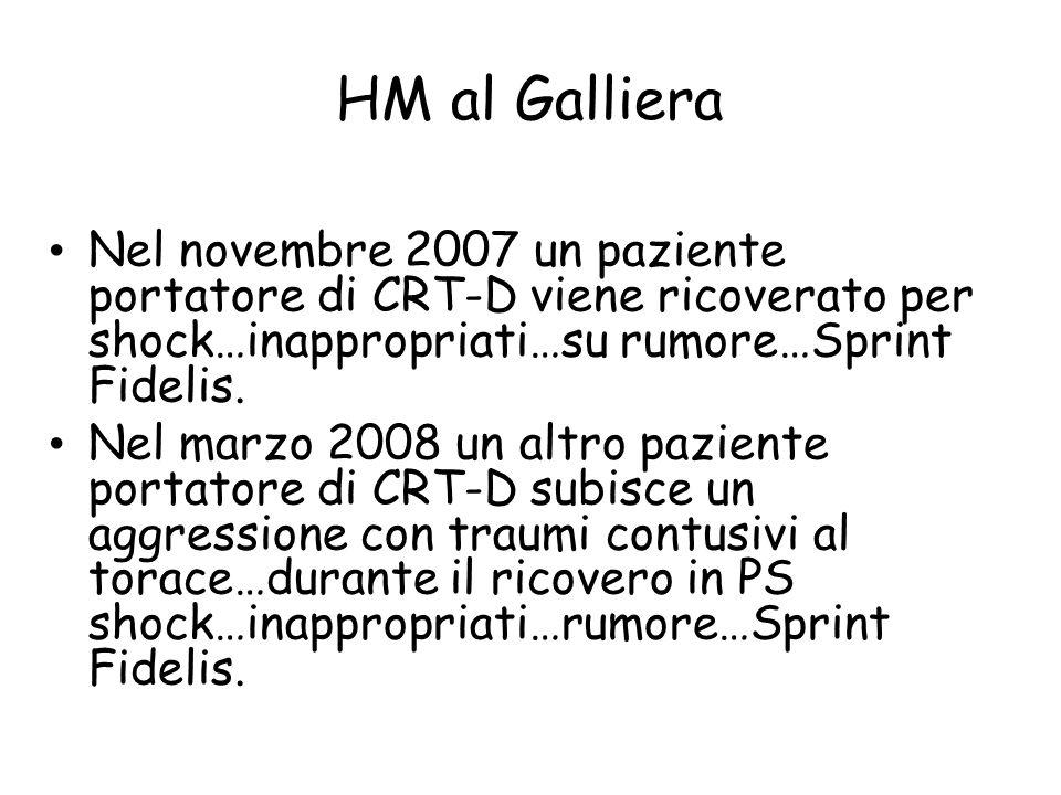 HM al Galliera Nel novembre 2007 un paziente portatore di CRT-D viene ricoverato per shock…inappropriati…su rumore…Sprint Fidelis.