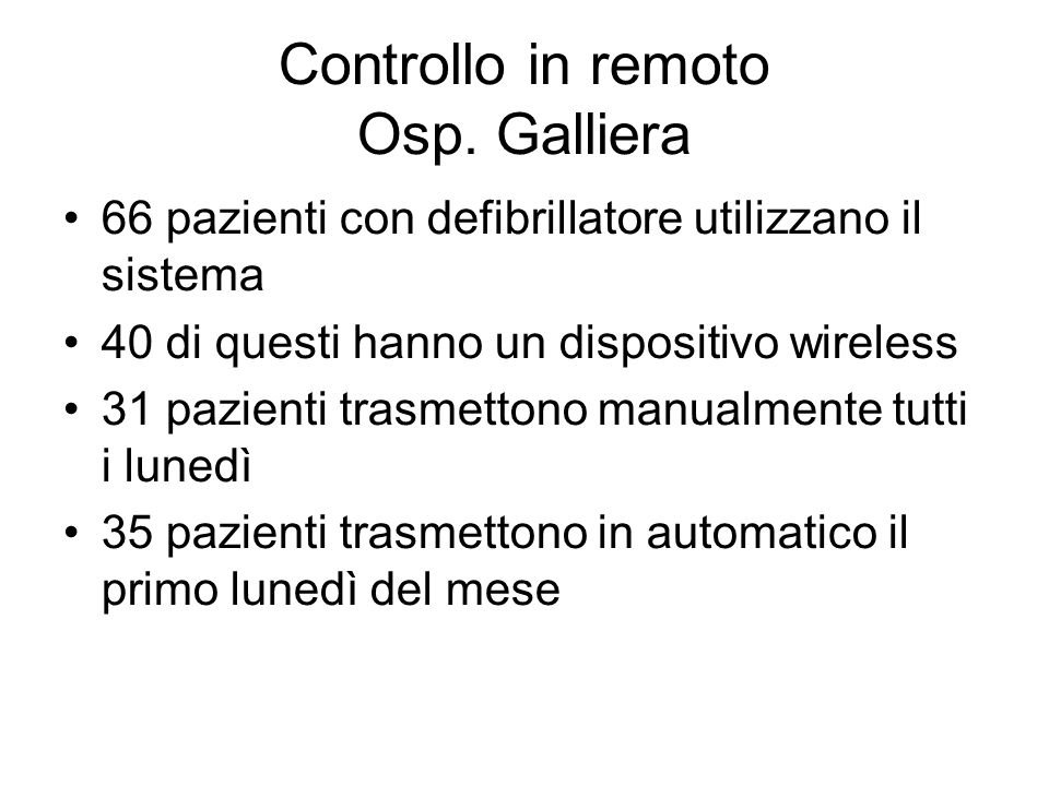 Controllo in remoto Osp. Galliera