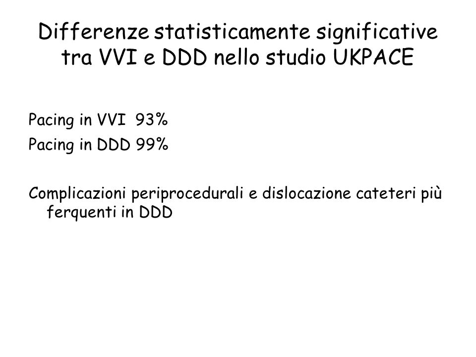 Differenze statisticamente significative tra VVI e DDD nello studio UKPACE