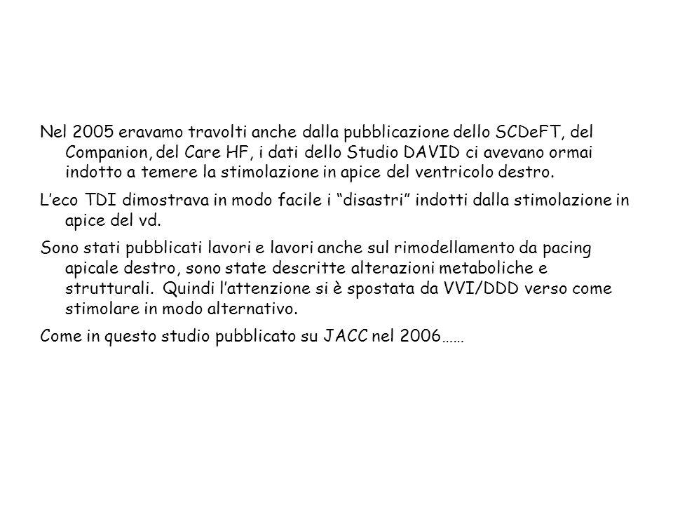 Nel 2005 eravamo travolti anche dalla pubblicazione dello SCDeFT, del Companion, del Care HF, i dati dello Studio DAVID ci avevano ormai indotto a temere la stimolazione in apice del ventricolo destro.