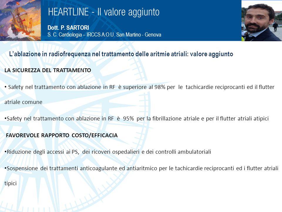 Inserire fotografia Dott. P. SARTORI. S. C. Cardiologia – IRCCS A.O.U. San Martino - Genova.
