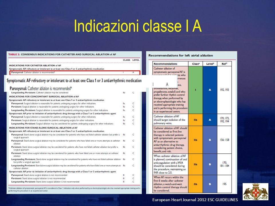 Indicazioni classe I A European Heart Journal 2012 ESC GUIDELINES