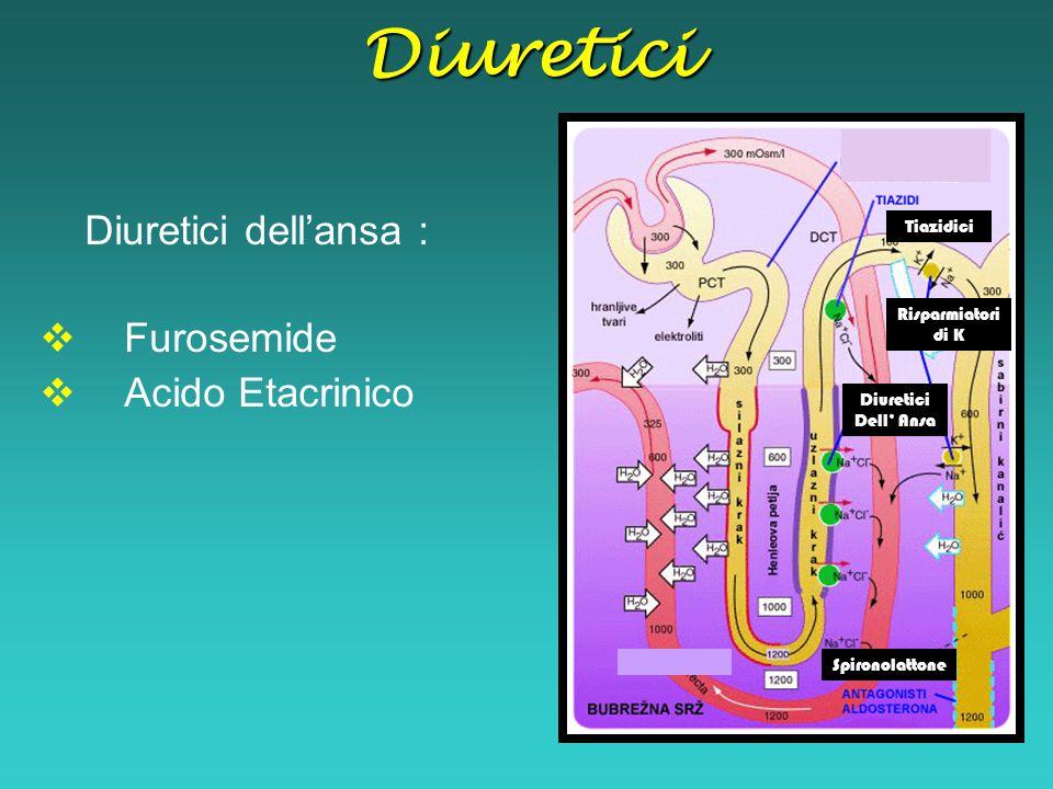 Diuretici Diuretici dell'ansa : Furosemide Acido Etacrinico Tiazidici