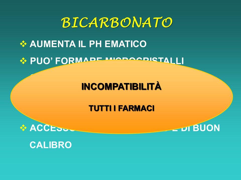 BICARBONATO AUMENTA IL PH EMATICO PUO' FORMARE MICROCRISTALLI