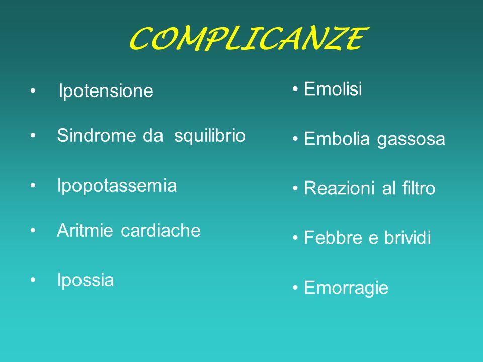 COMPLICANZE • Emolisi Ipotensione • Embolia gassosa