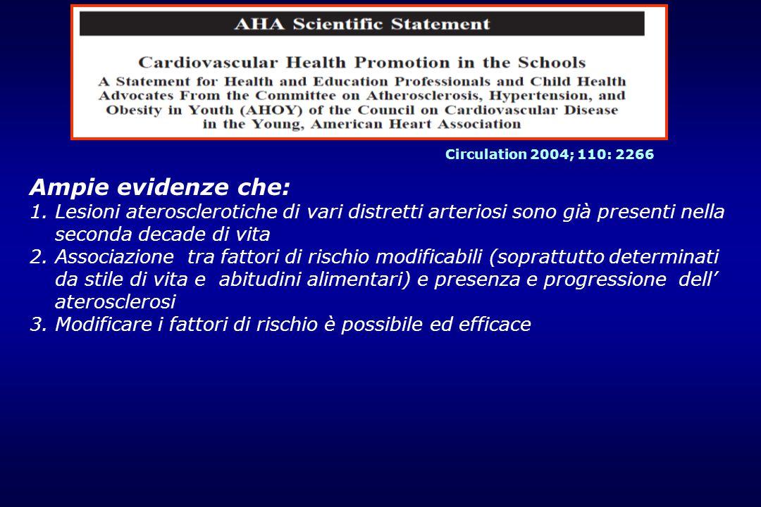Circulation 2004; 110: 2266 Ampie evidenze che: Lesioni aterosclerotiche di vari distretti arteriosi sono già presenti nella seconda decade di vita.
