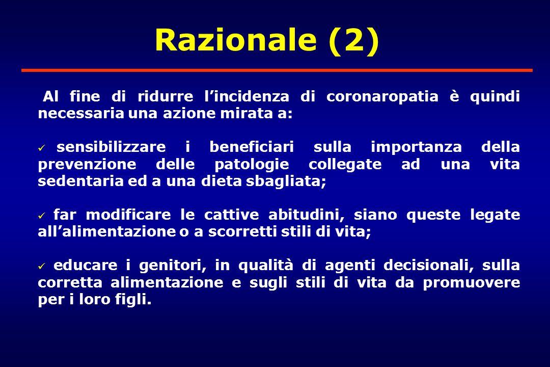 Razionale (2) Al fine di ridurre l'incidenza di coronaropatia è quindi necessaria una azione mirata a: