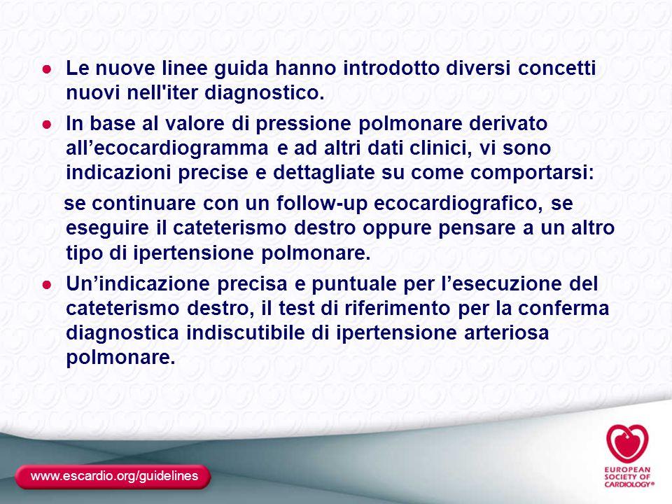 Le nuove linee guida hanno introdotto diversi concetti nuovi nell iter diagnostico.