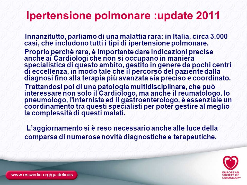 Ipertensione polmonare :update 2011