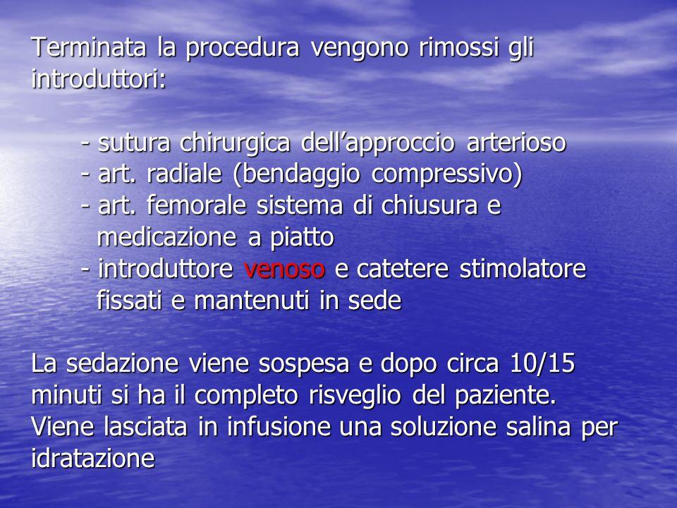 Terminata la procedura vengono rimossi gli introduttori: - sutura chirurgica dell'approccio arterioso - art.