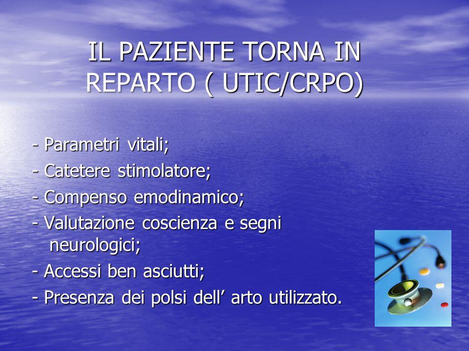 IL PAZIENTE TORNA IN REPARTO ( UTIC/CRPO)