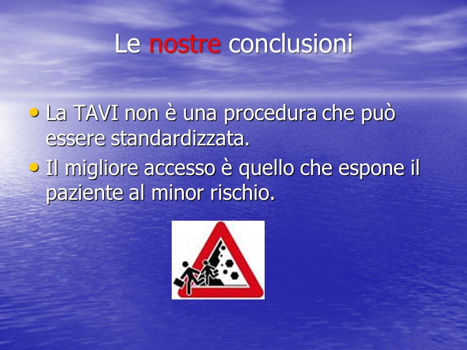 Le nostre conclusioni La TAVI non è una procedura che può essere standardizzata.