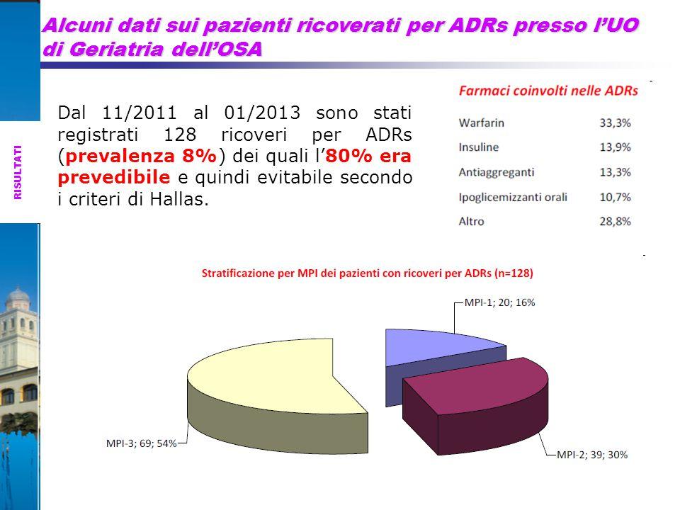 Alcuni dati sui pazienti ricoverati per ADRs presso l'UO di Geriatria dell'OSA