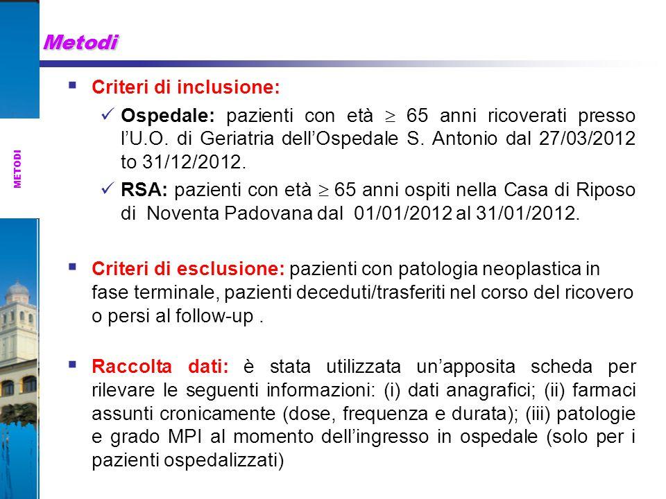 Metodi Criteri di inclusione:
