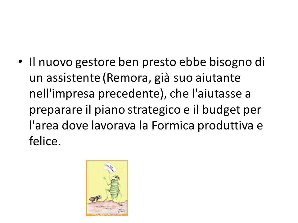 Il nuovo gestore ben presto ebbe bisogno di un assistente (Remora, già suo aiutante nell impresa precedente), che l aiutasse a preparare il piano strategico e il budget per l area dove lavorava la Formica produttiva e felice.