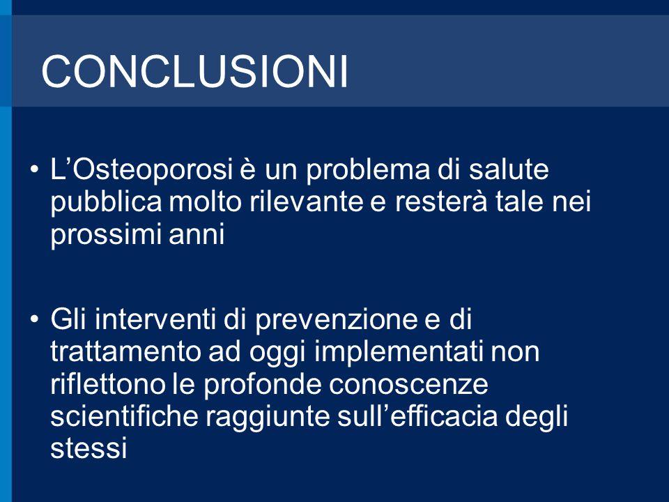 CONCLUSIONI L'Osteoporosi è un problema di salute pubblica molto rilevante e resterà tale nei prossimi anni.