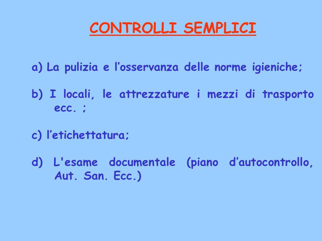 CONTROLLI SEMPLICI a) La pulizia e l'osservanza delle norme igieniche;