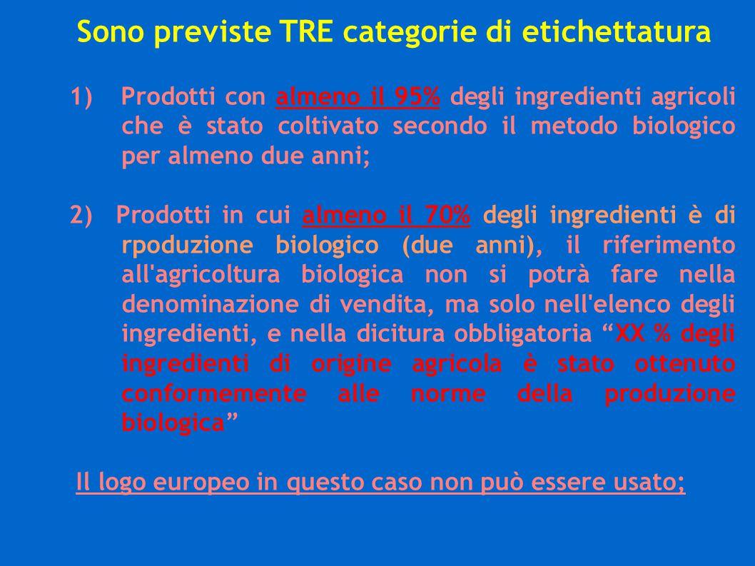 Sono previste TRE categorie di etichettatura