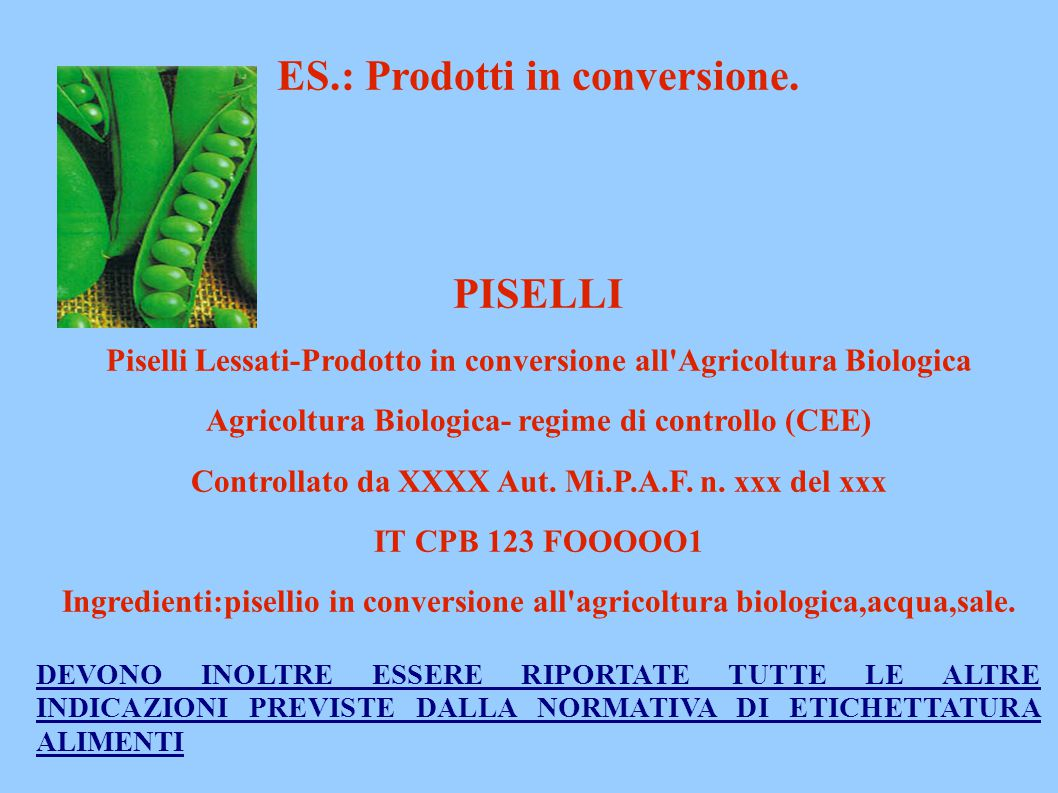 ES.: Prodotti in conversione. PISELLI