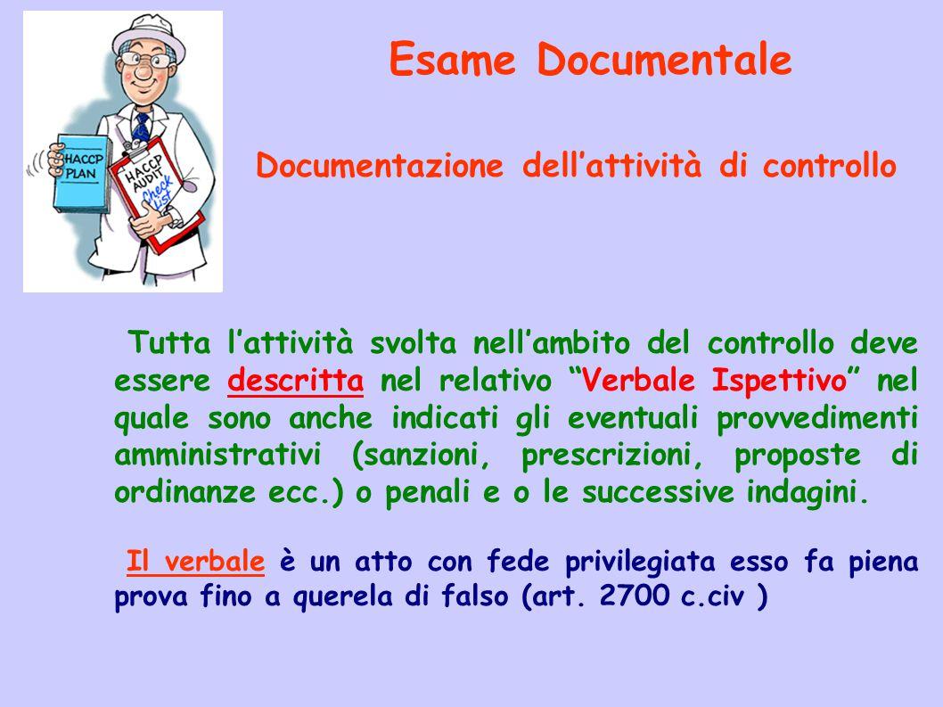 Documentazione dell'attività di controllo