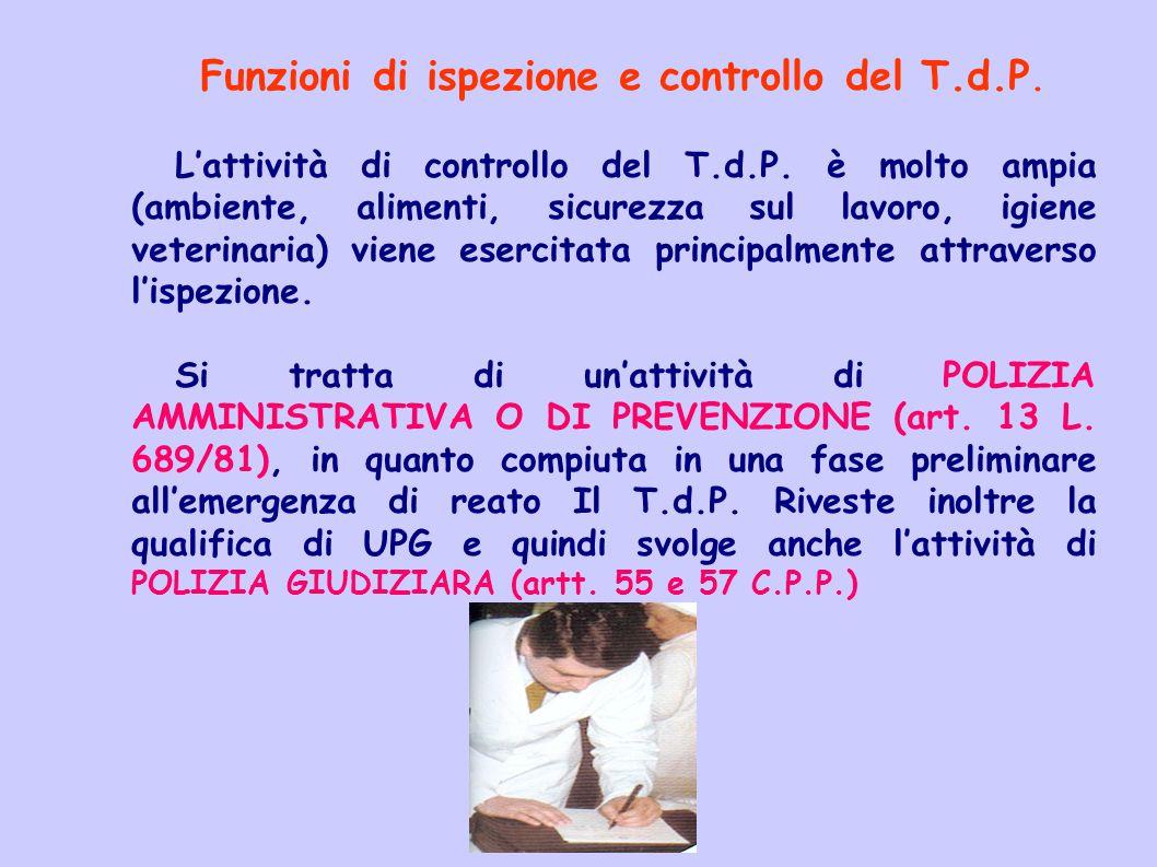 Funzioni di ispezione e controllo del T.d.P.