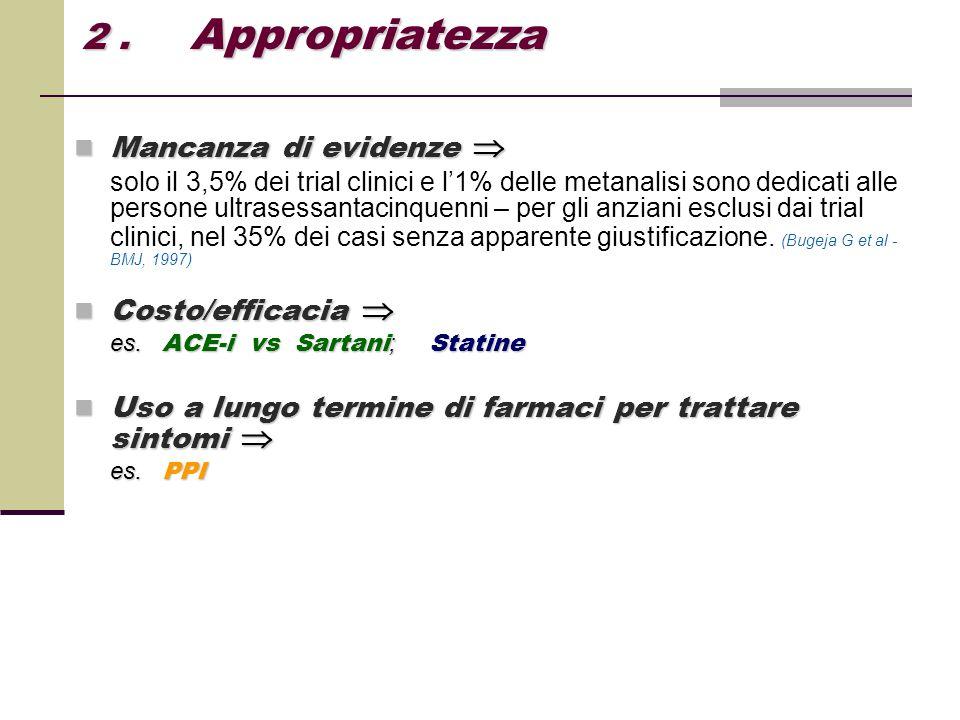 2 . Appropriatezza Mancanza di evidenze  Costo/efficacia 