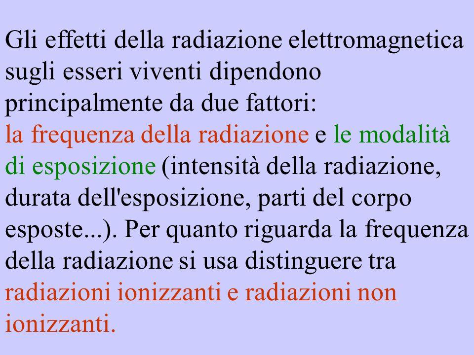 Gli effetti della radiazione elettromagnetica sugli esseri viventi dipendono principalmente da due fattori: