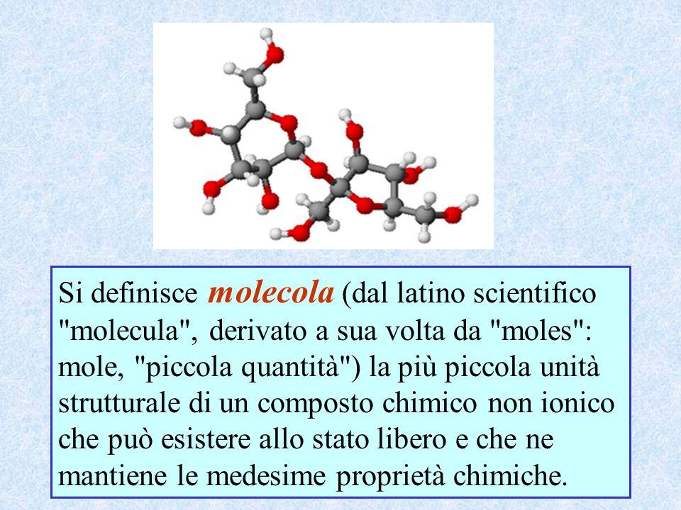 Si definisce molecola (dal latino scientifico molecula , derivato a sua volta da moles : mole, piccola quantità ) la più piccola unità strutturale di un composto chimico non ionico che può esistere allo stato libero e che ne mantiene le medesime proprietà chimiche.