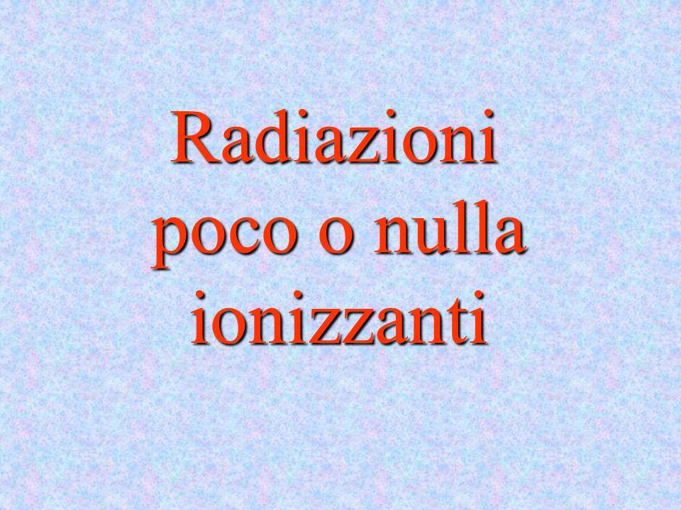 Radiazioni poco o nulla ionizzanti