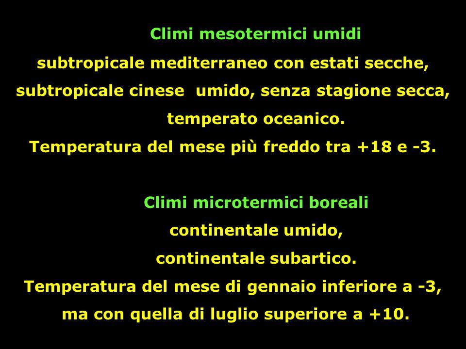 Climi mesotermici umidi