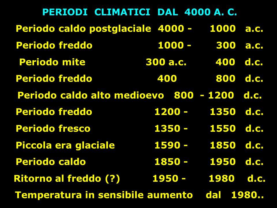 PERIODI CLIMATICI DAL 4000 A. C.