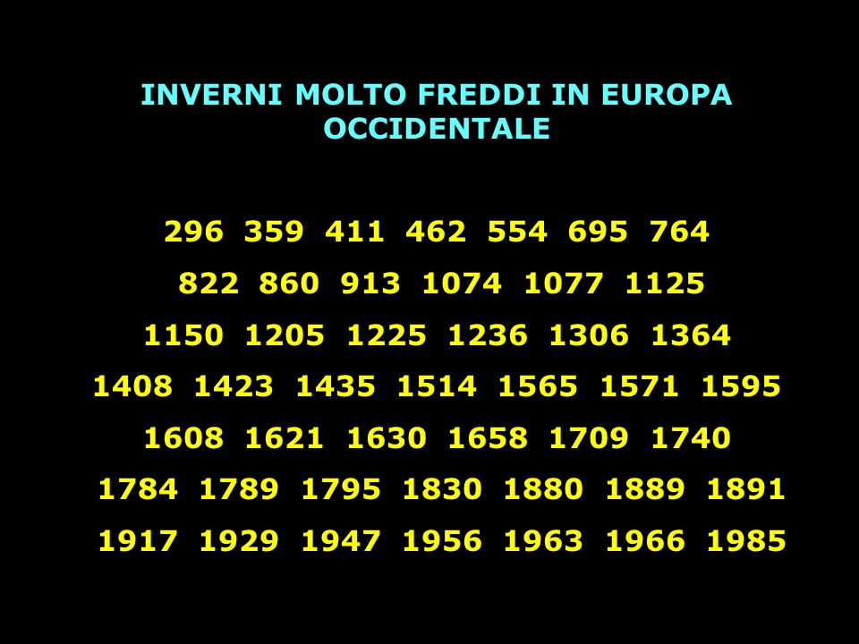 INVERNI MOLTO FREDDI IN EUROPA OCCIDENTALE