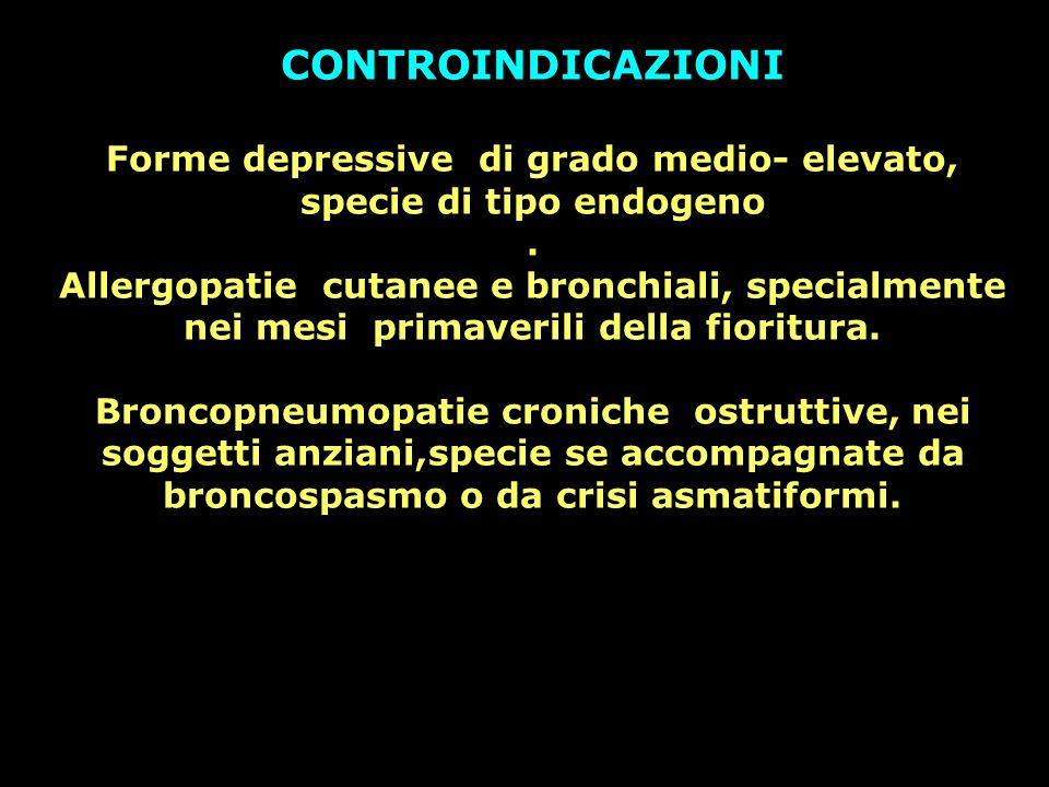 Forme depressive di grado medio- elevato, specie di tipo endogeno