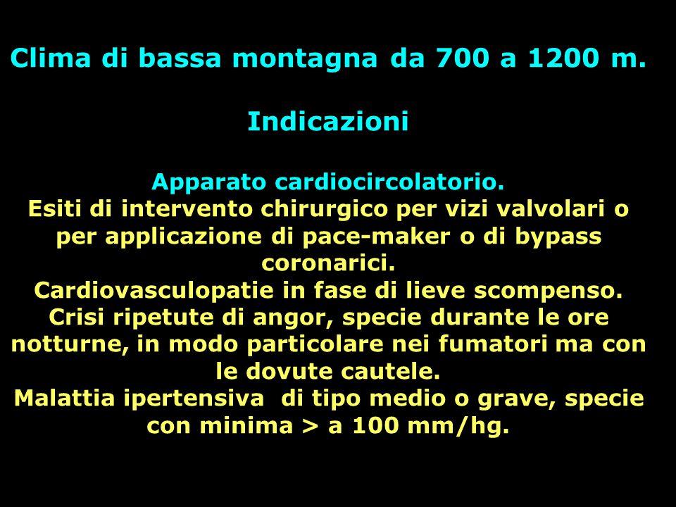 Clima di bassa montagna da 700 a 1200 m. Indicazioni