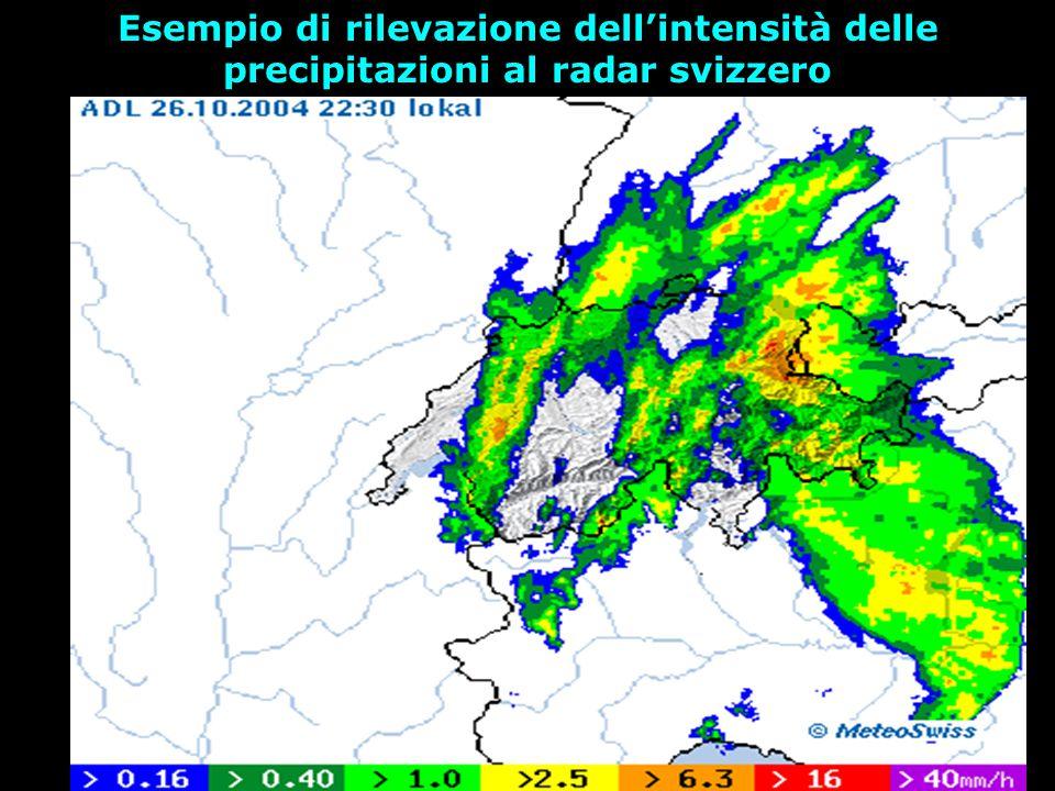 Esempio di rilevazione dell'intensità delle precipitazioni al radar svizzero