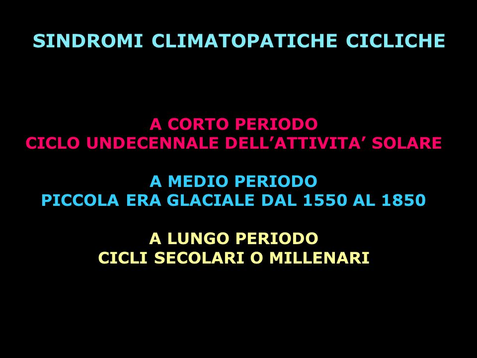 SINDROMI CLIMATOPATICHE CICLICHE