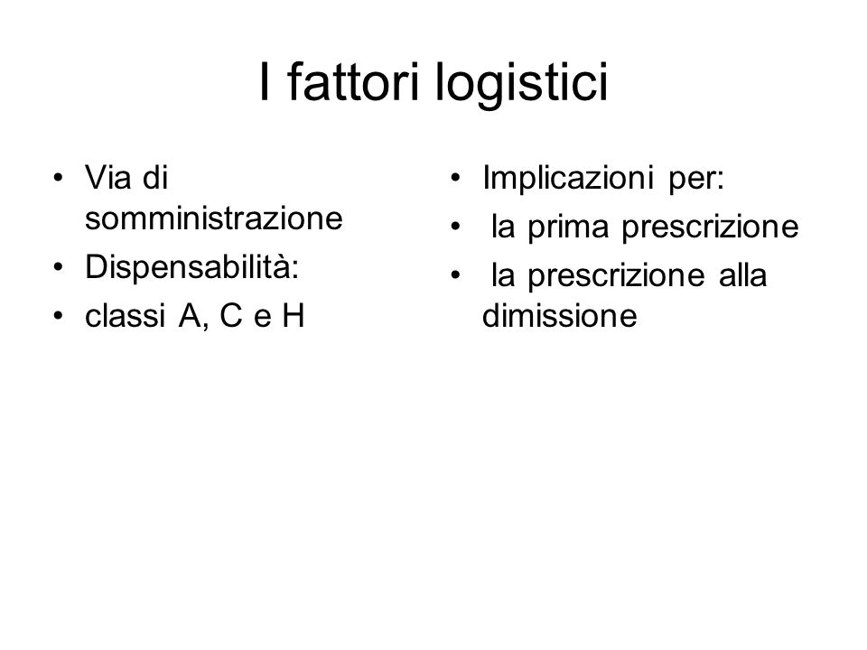 I fattori logistici Via di somministrazione Dispensabilità:
