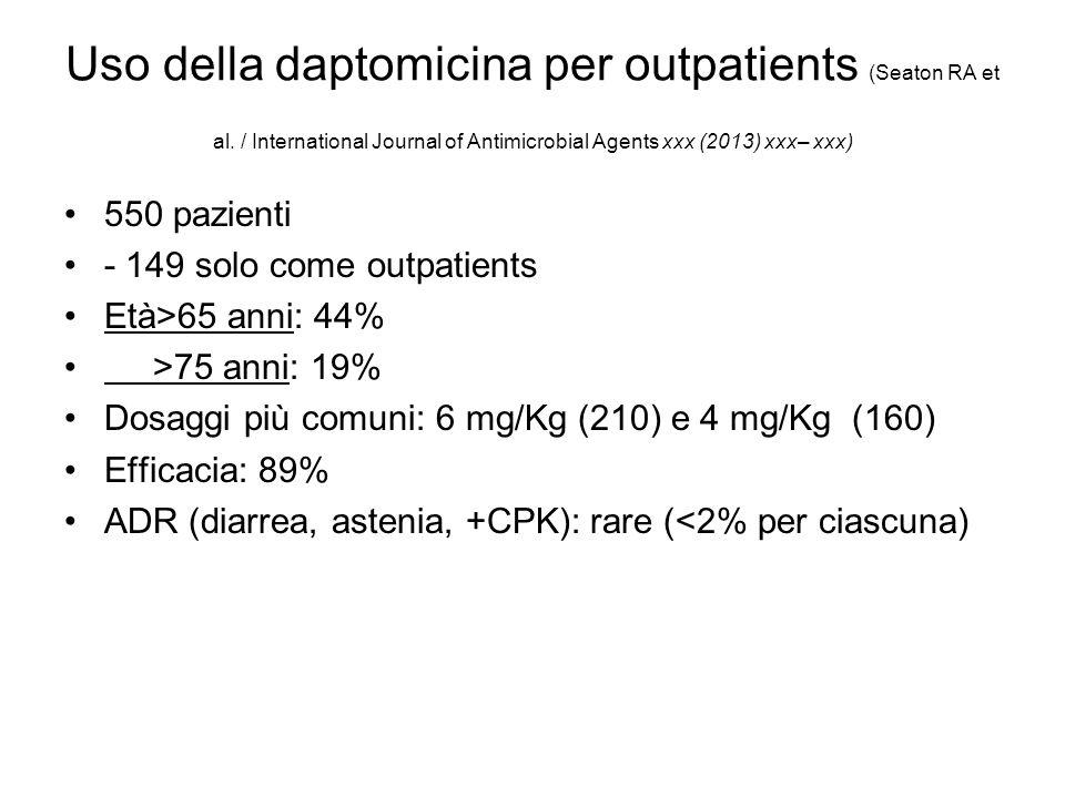 Uso della daptomicina per outpatients (Seaton RA et al