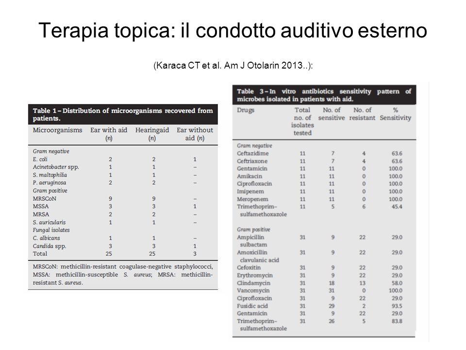 Terapia topica: il condotto auditivo esterno (Karaca CT et al