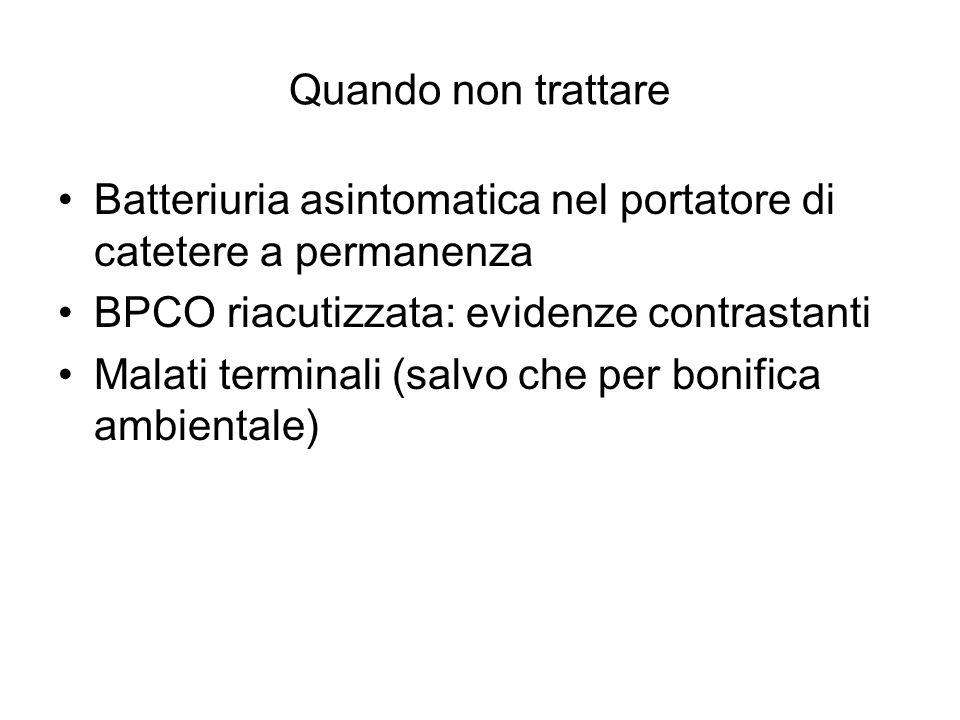 Quando non trattare Batteriuria asintomatica nel portatore di catetere a permanenza. BPCO riacutizzata: evidenze contrastanti.