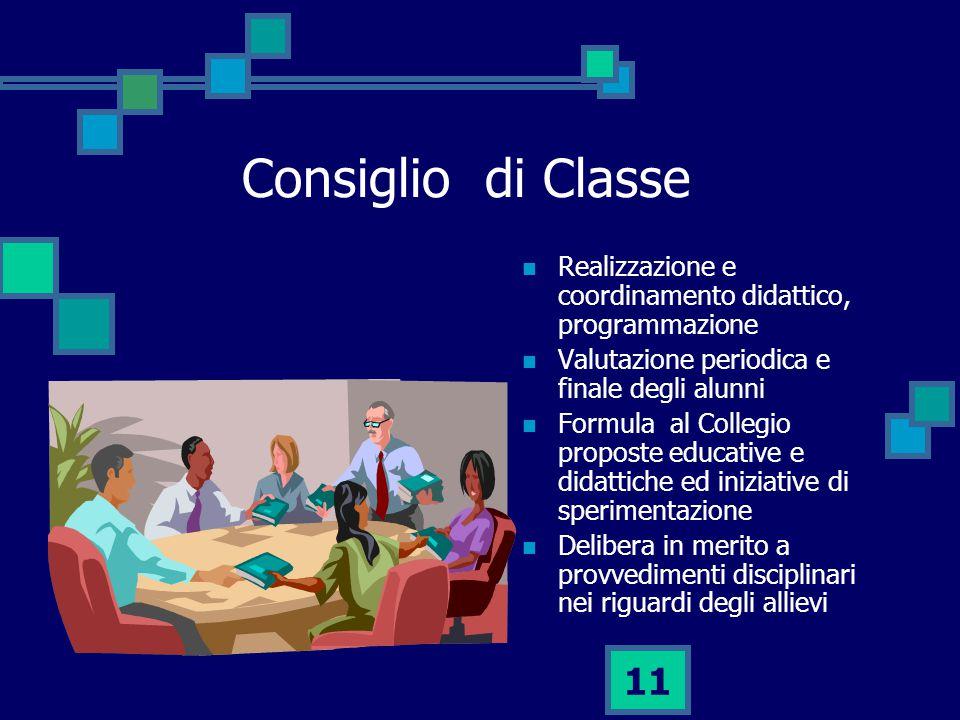 Consiglio di Classe Realizzazione e coordinamento didattico, programmazione. Valutazione periodica e finale degli alunni.