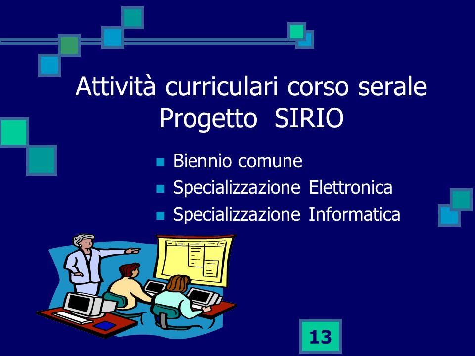 Attività curriculari corso serale Progetto SIRIO